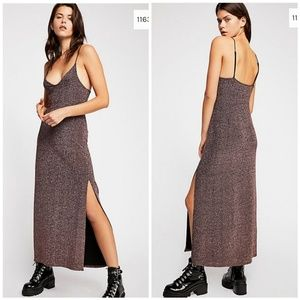 NWOT Free People Lola Metallic Maxi Dress Rose